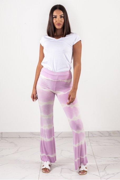 Pantalon fluide dégradé tie and dye rose