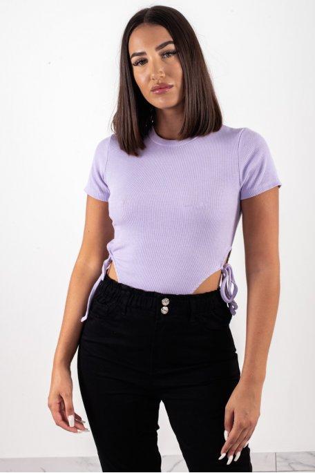 Body côtelé noeud violet