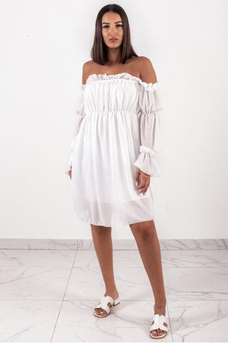 Robe bardot mousseline blanc