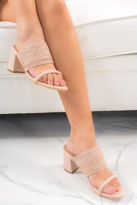 Sandales à talons beiges effet osier tressé
