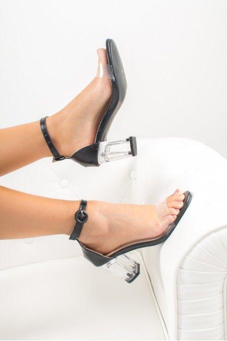 Sandales à talon noir