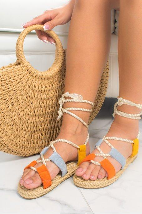Sandales plates tressées effet daim bleu
