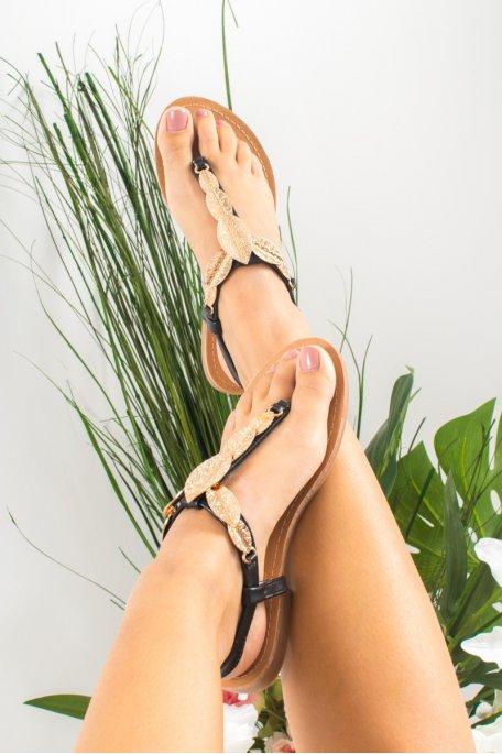 Sandales noires feuilles dorées