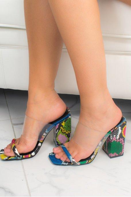 Sandales talon multicolors