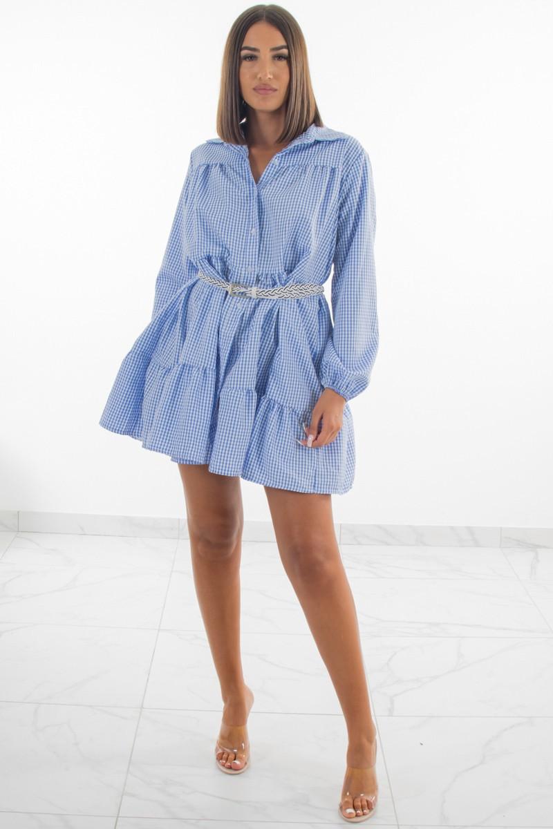 Robe Chemise Petit Carreaux Bleu Cinelle Paris