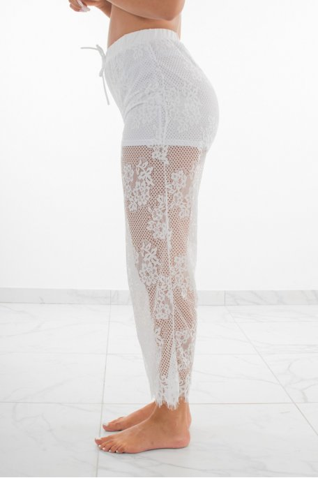 Pantalon en dentelle blanc short