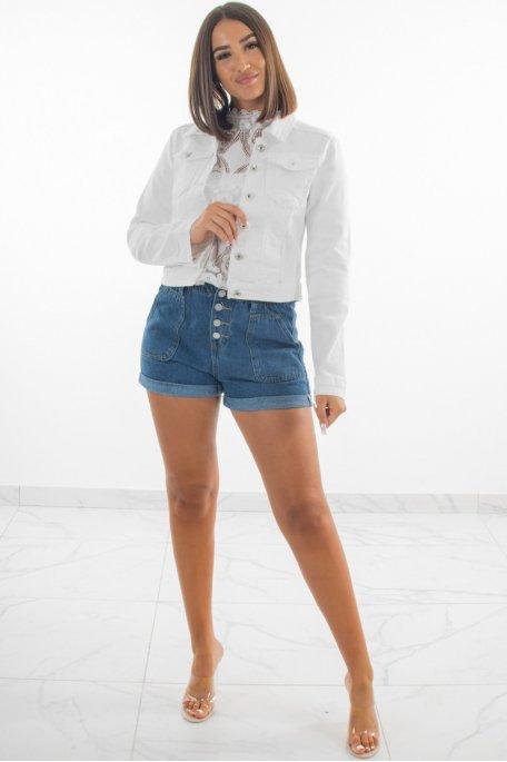 Veste en jean blanche courte à poches