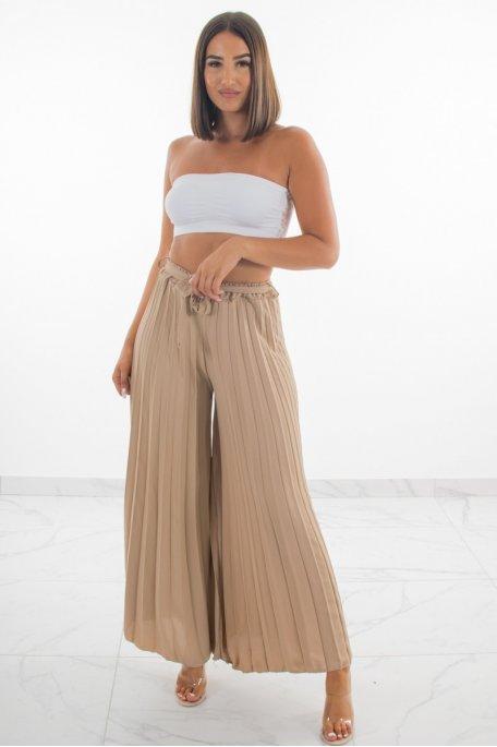Pantalon large plissée beige