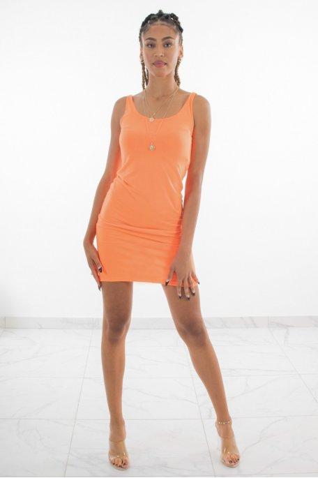 Robe orange fluo débardeur