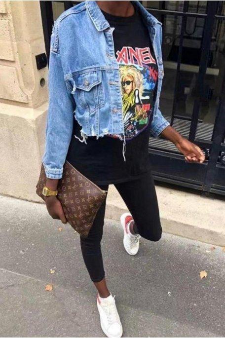 Veste en jean bleu cropped déchirée