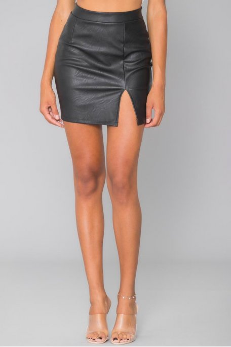 Jupe courte noire fendue simili cuir