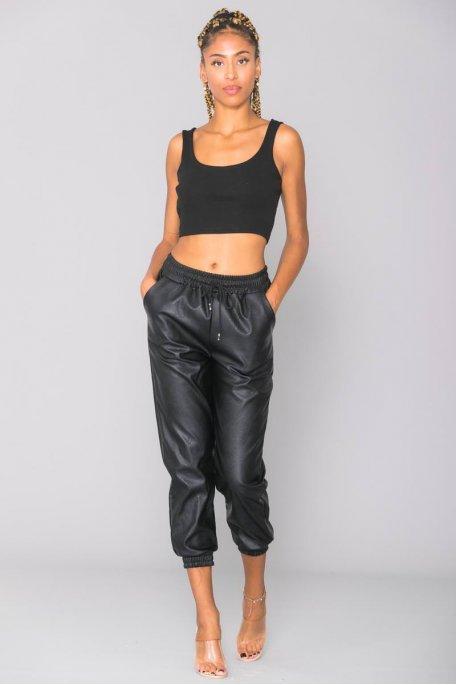 Pantalon jogging noir simili cuir