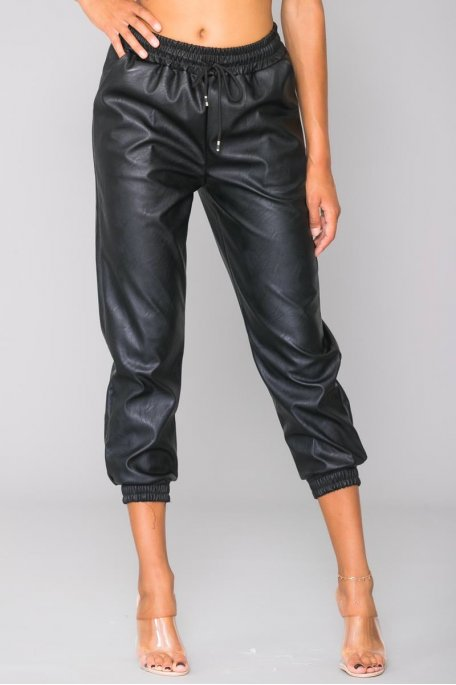 Pantalon jogging noir simili cuir