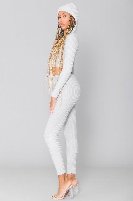 Ensemble gris côtelé crop top manches longues pantalon