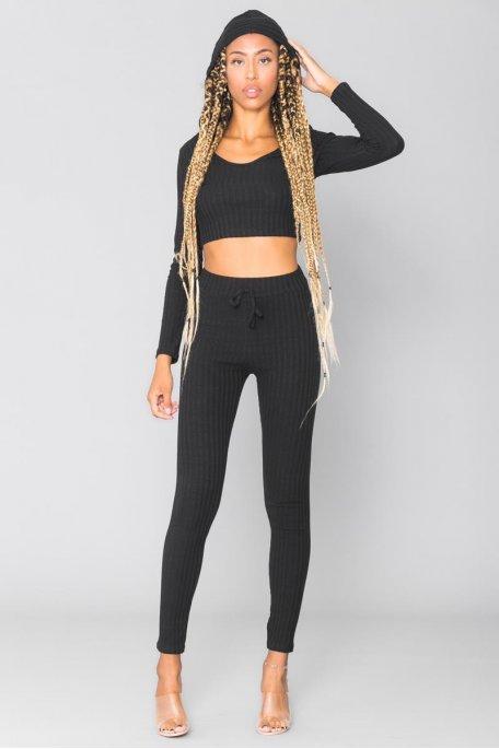 Ensemble noir côtelé crop top manches longues pantalon