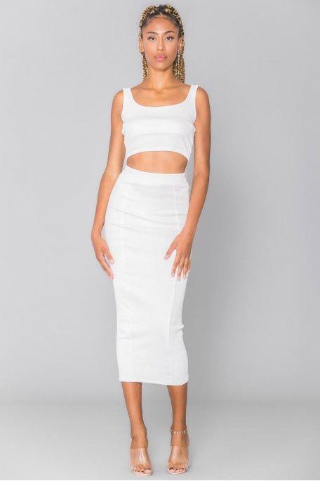 Ensemble moulant côtelé blanc crop top jupe longue