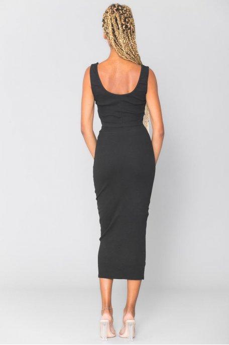 Ensemble moulant côtelé noir crop top jupe longue