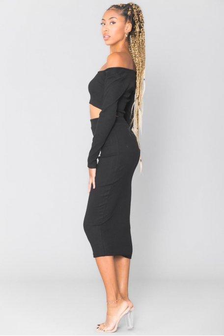 Ensemble côtelé noir crop top jupe longue