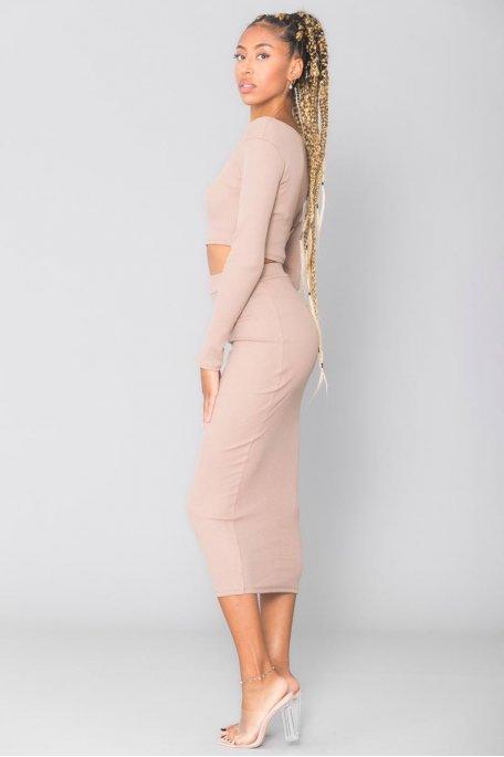Ensemble côtelé beige crop top jupe longue