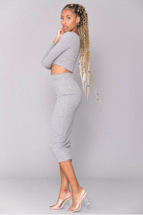 Ensemble côtelé gris crop top jupe longue