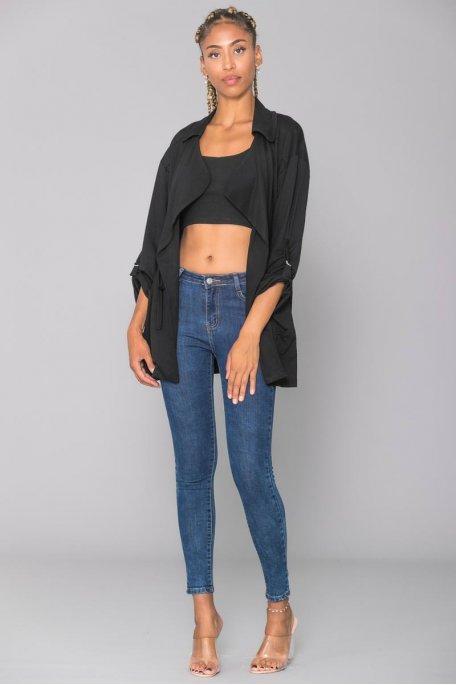 Veste longue noire fine style imper