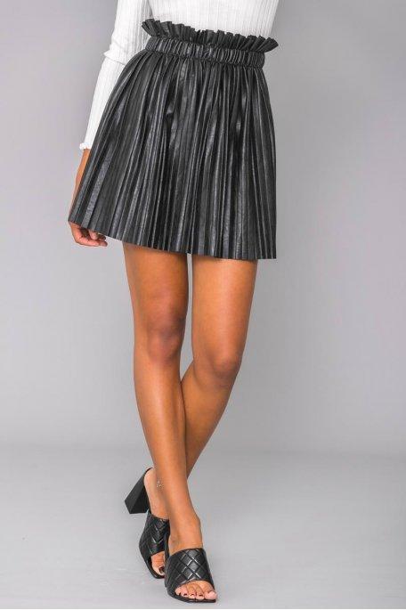 Jupe plissée noire simili cuir