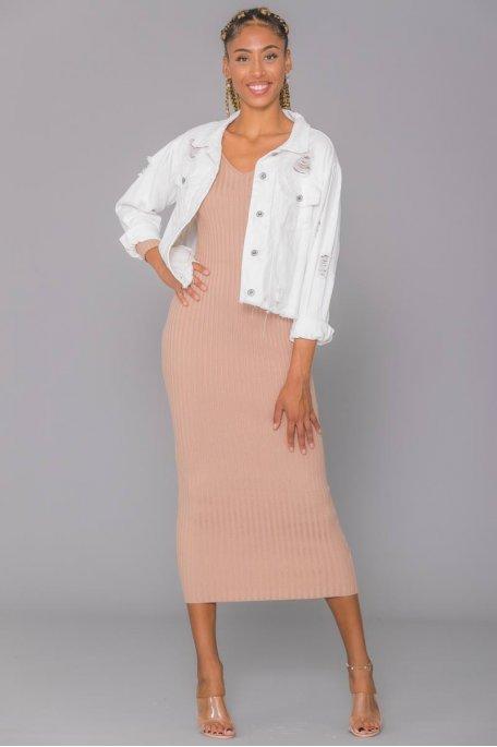 Veste en jean blanche effet déchiré
