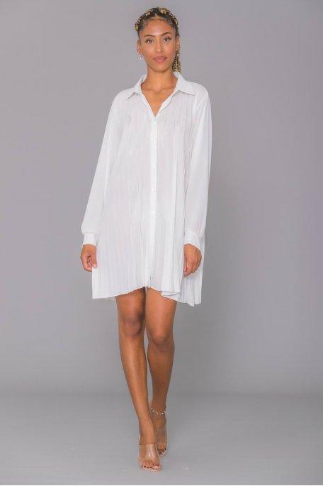 Robe chemise blanche fluide plissée