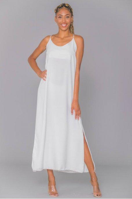 Robe longue fluide blanc fendue