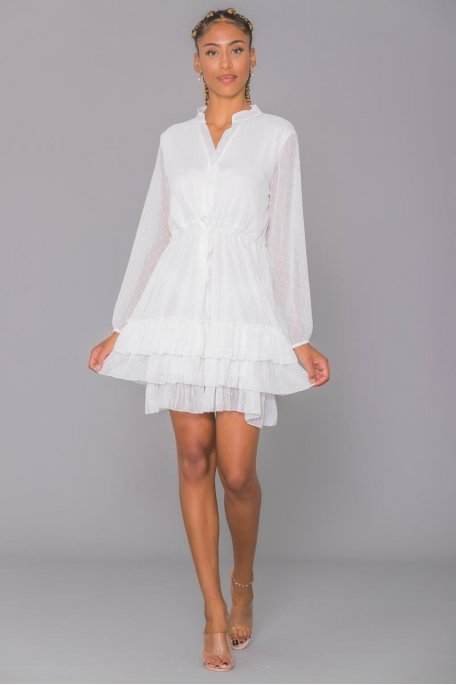 Robe blanche mousseline fil lurex
