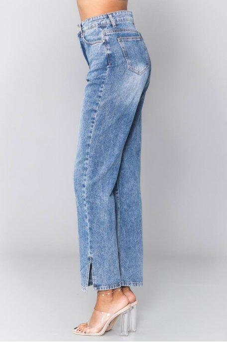 Jean bleu délavé droit fendu taille haute