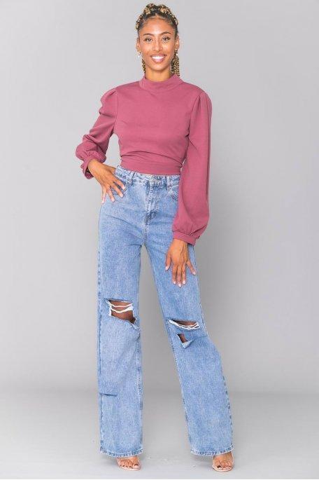 Jean large taille haute déchiré