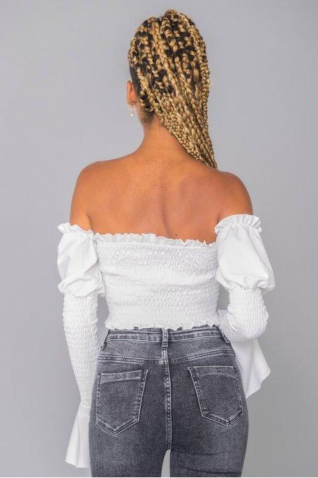 Crop top blanc froncé manches longues