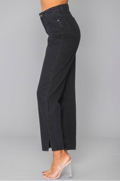 Jean noir droit fendu taille haute