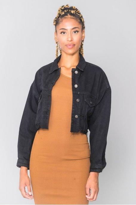 Veste en jean noire cropped déchirée