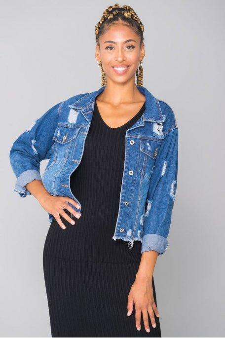Veste en jean bleu effet déchiré