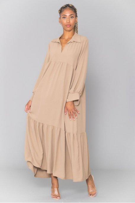 Robe longue beige manches longues col chemise