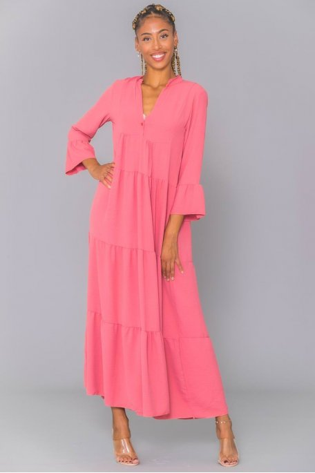 Robe longue col tunisien rose volants