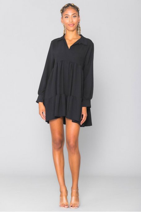 Robe courte style chemise à volants noire