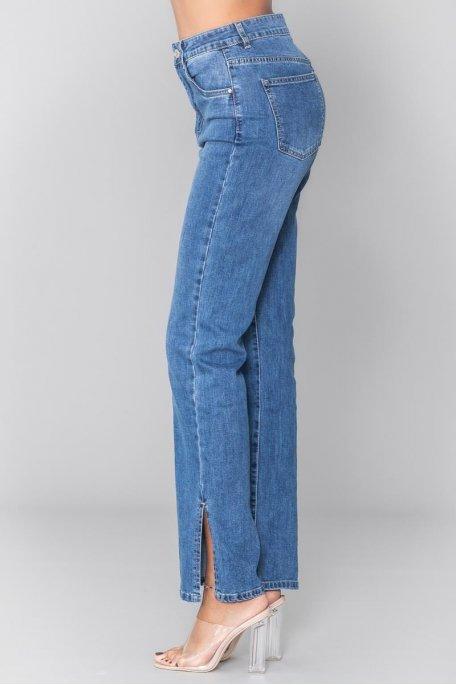 Jean taille haute bleu coupe droite fendu