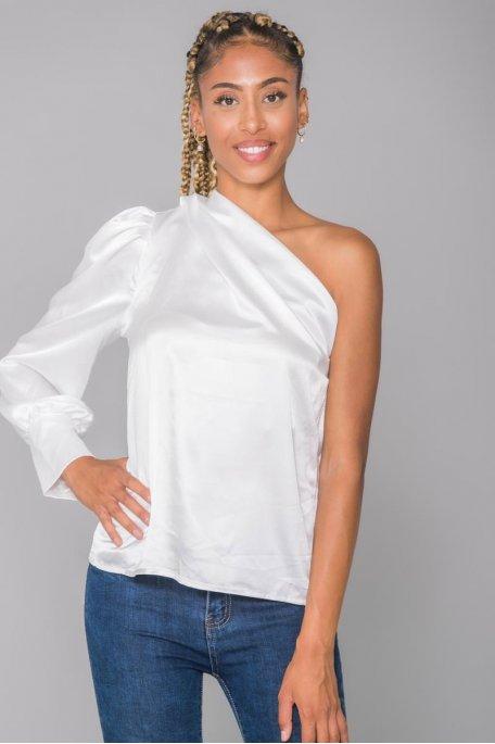 Top satiné fluide blanc one shoulder