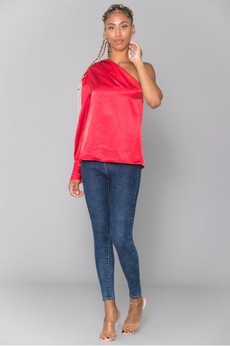 Top satiné fluide rouge one shoulder