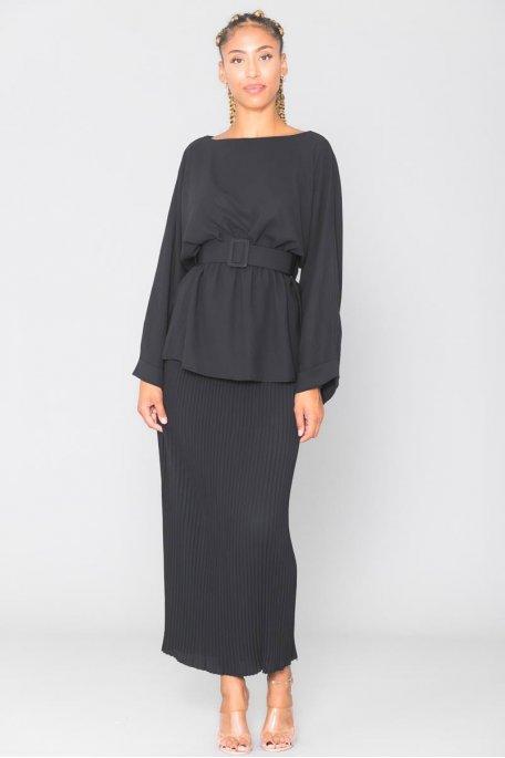 Ensemble noir top cintré jupe longue plissée