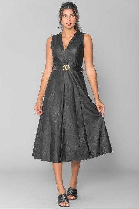 Robe simili cuir noire
