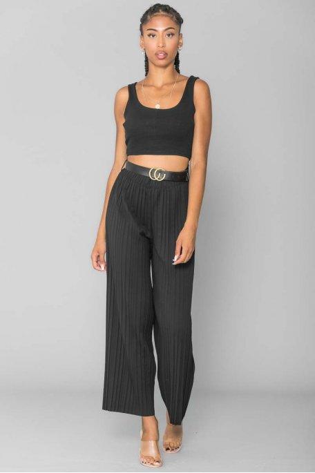 Pantalon plissé ceinturé noir