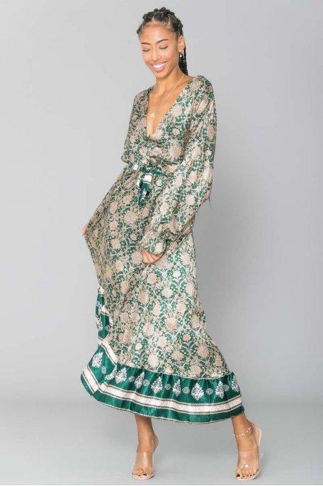 Robe satinée imprimé cachemire vert