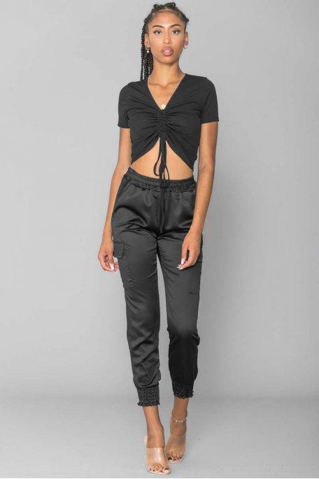 Pantalon cargo satiné noir