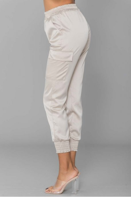 Pantalon cargo satiné beige
