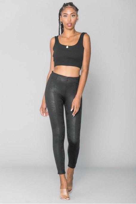Pantalon simili noir mat