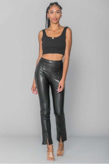 Pantalon simili cuir fente à l'avant noir